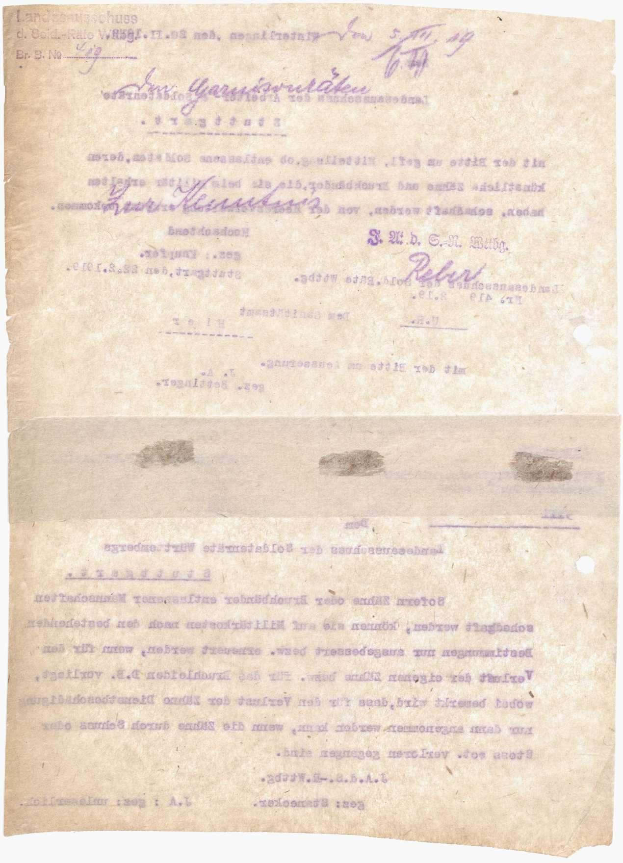 Mitteilung des Landesausschusses der Soldatenräte über den Ersatz von beim Militär erhaltenen, schadhaft gewordenen künstlichen Zähnen und Bruchbändern, Bild 2