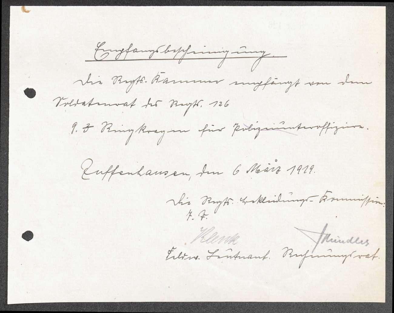 Empfangsbescheinigung der Regimentsbekleidungskommission über erhaltene Ausrüstungsgegenstände, Bild 1