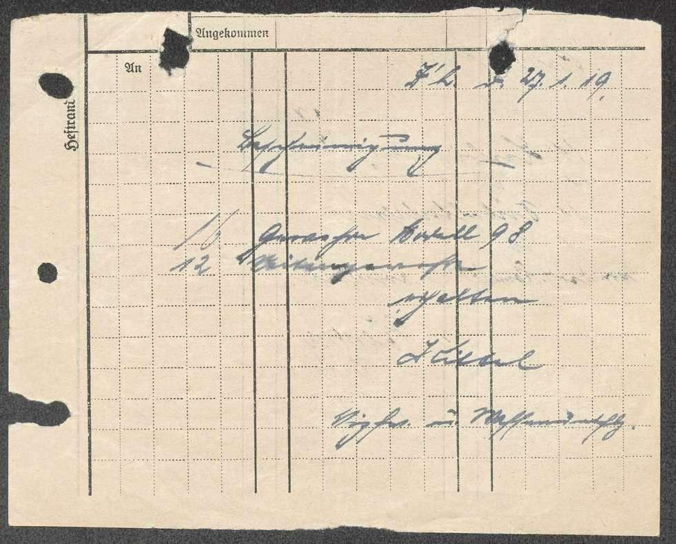 Empfangsbescheinigung der Regimentsbekleidungskommission über erhaltene Ausrüstungsgegenstände, Bild 2
