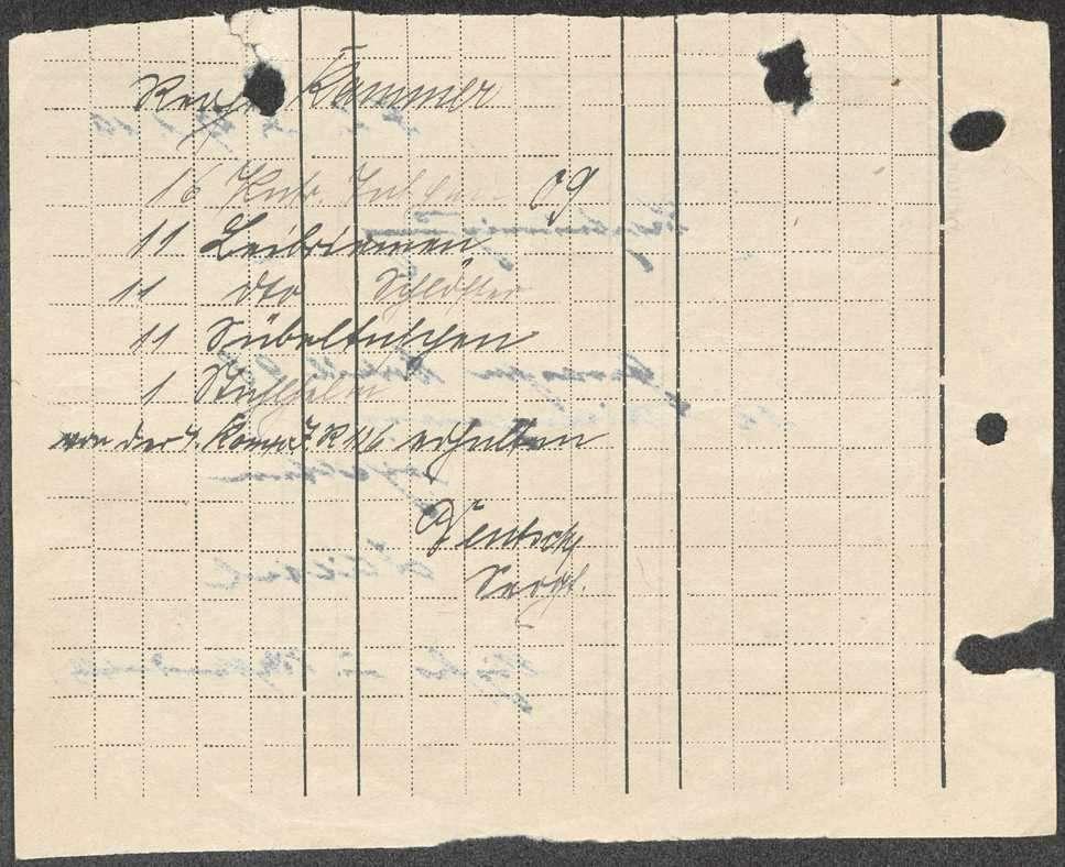 Empfangsbescheinigung der Regimentsbekleidungskommission über erhaltene Ausrüstungsgegenstände, Bild 3
