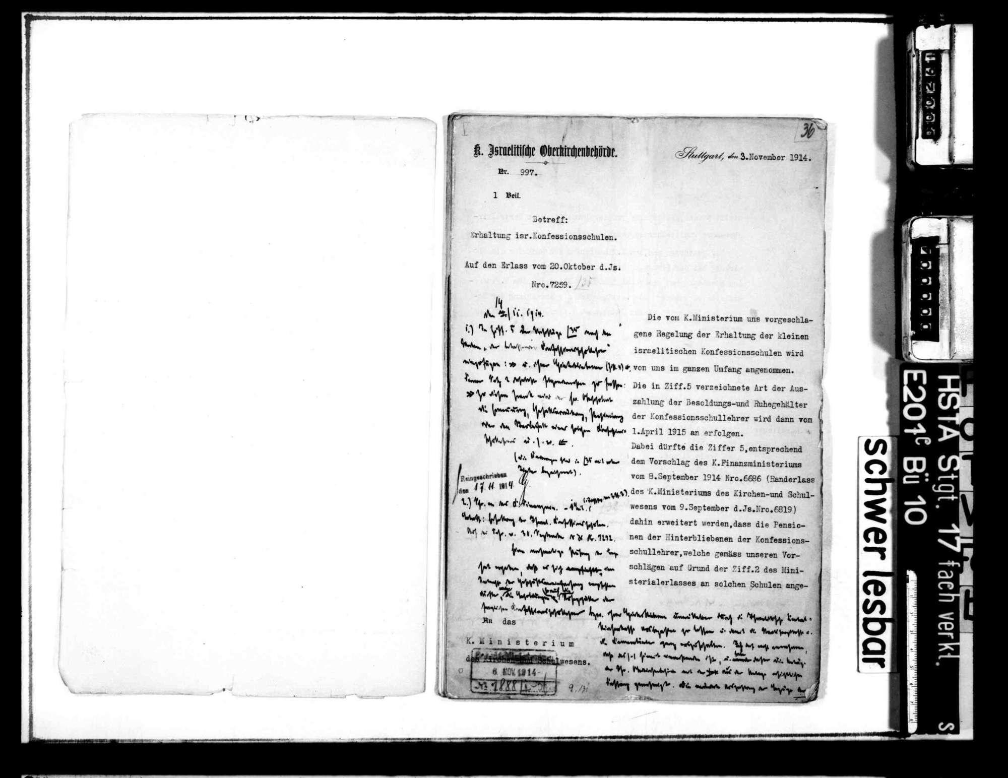 Neuordnung der israelitischen Kirchenorganisation: Vereinfachung des Geschäftsbetriebs der israelitischen Oberkirchenbehörde, Neuordnung der Schulorganisation, der Gehealtsverhältnisse der Rabbiner, Vorsänger und Schullehrer, Bild 2