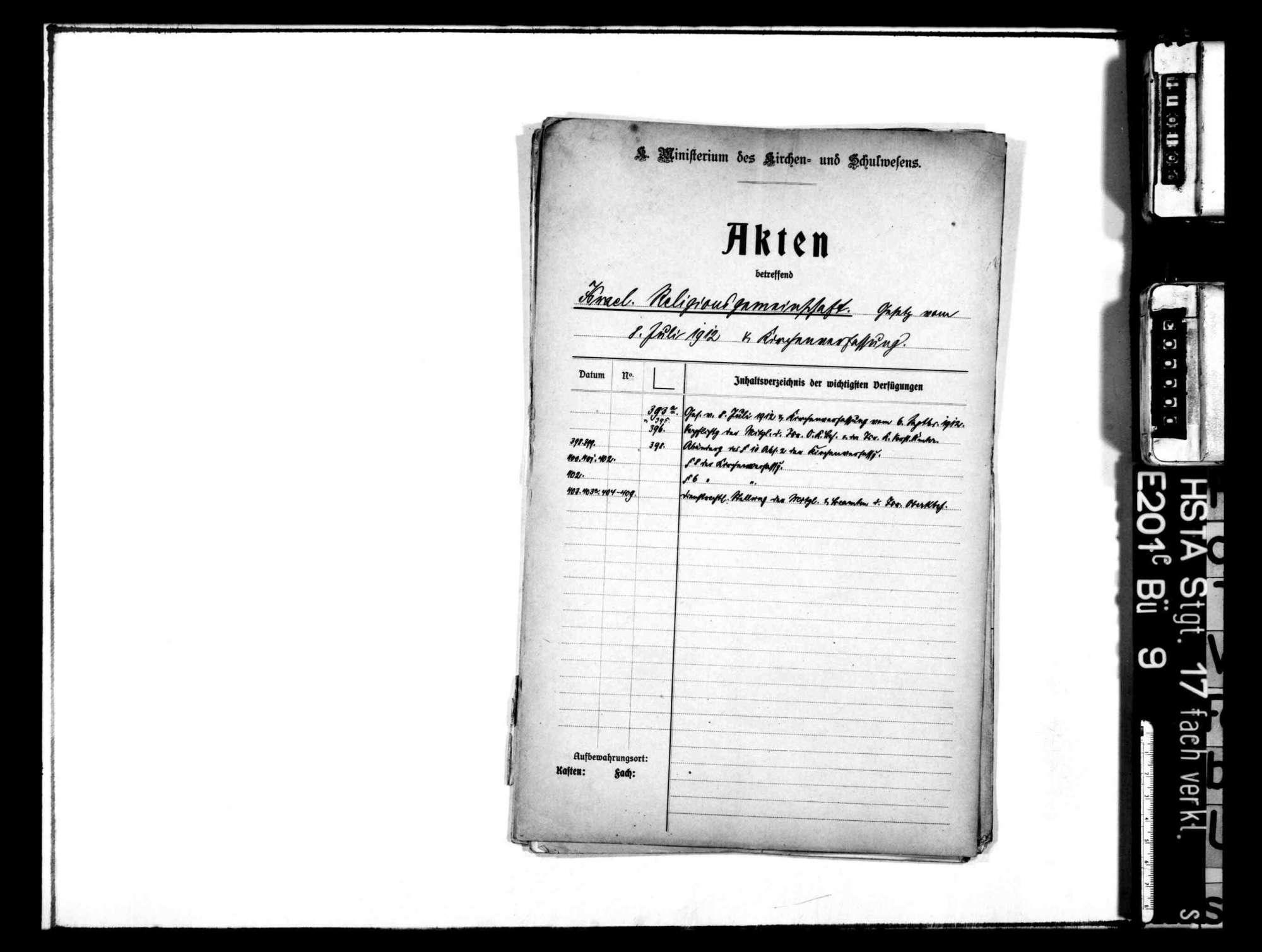 Entwurf und parlamentarische Verabschiedung des neuen Israelitengesetzes vom 8. Juli 1912 und Neuorganisation der israelitischen Kirchenverfassung, Bild 1