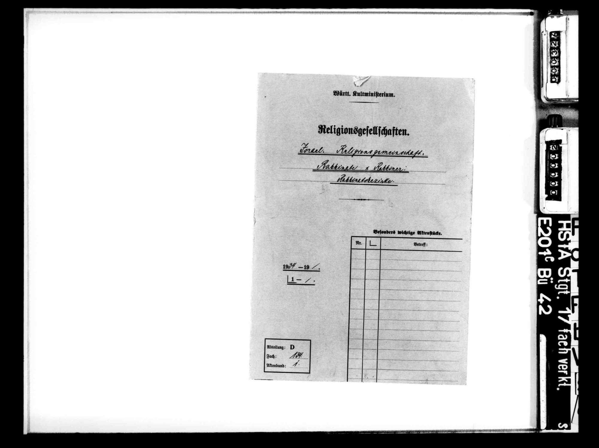 Rabbiner und Rabbinate: Stellenbesetzung und Fortbildung der Rabbiner, Übersicht über die Rabbinatsbezirke, Bild 1