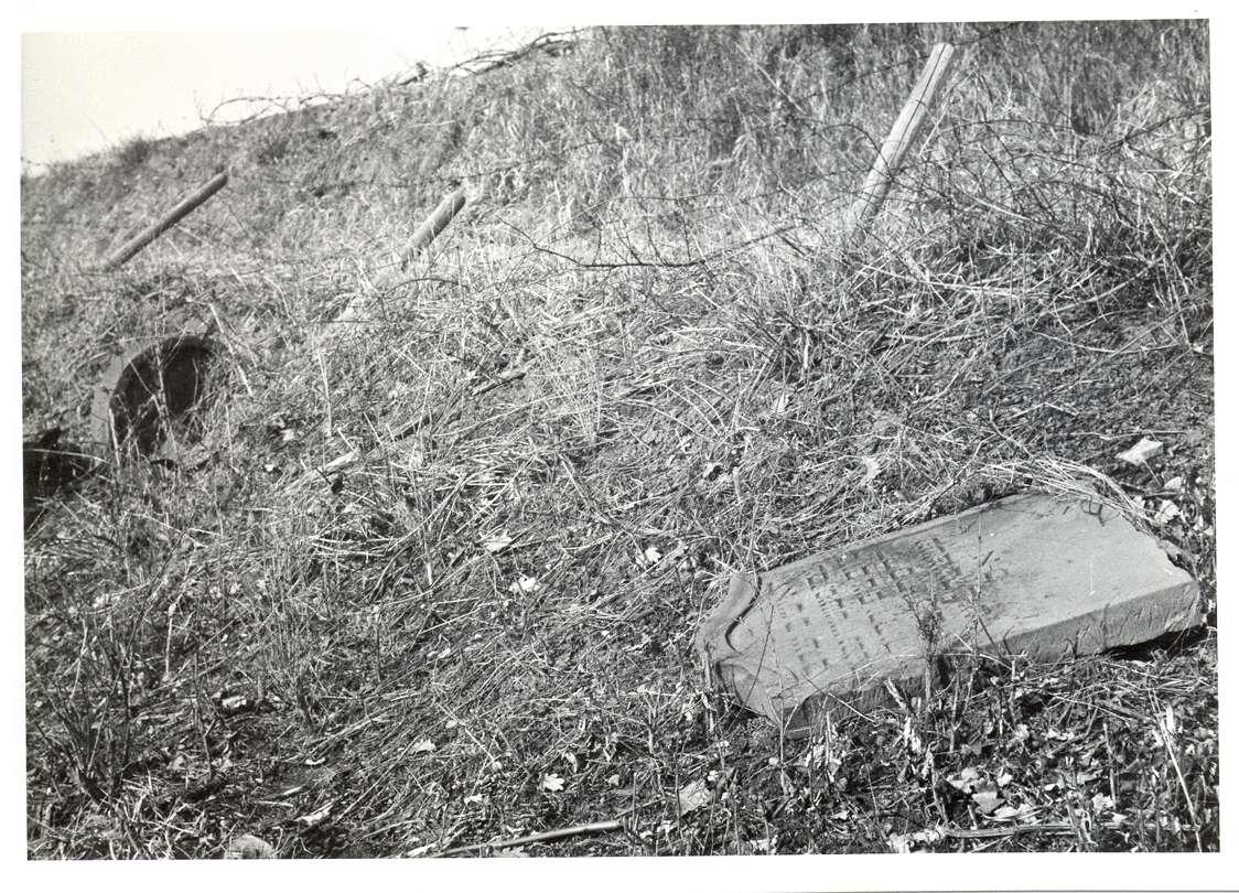 Neckarsulm, HN; Jüdischer Friedhof, umgestürzter Grabstein, Bild 1
