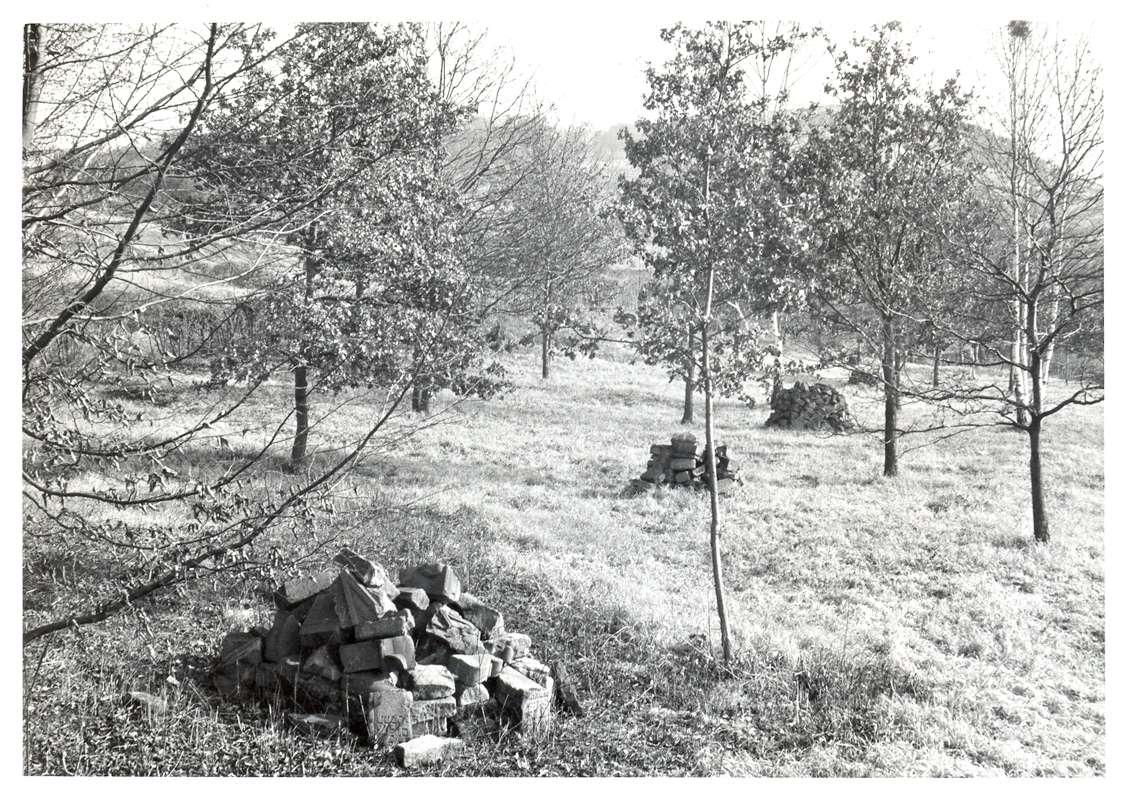 Neckarsulm, HN; Jüdischer Friedhof, Haufen aus zerschlagenen Grabsteinen, Bild 1