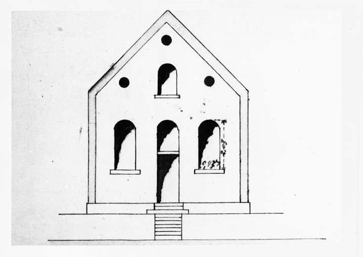Nußloch, HD; Betsaal, Frontansicht (Bauplan von 1890), Bild 1