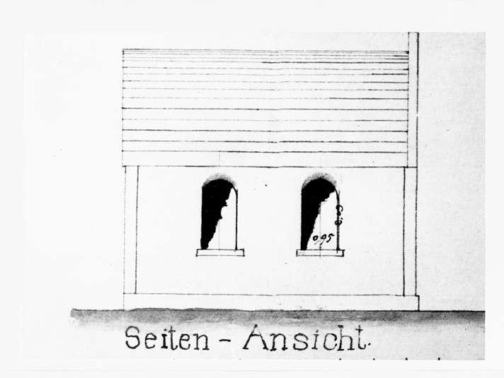 Nußloch, HD; Betsaal, Seitenansicht (Bauplan von 1890), Bild 1