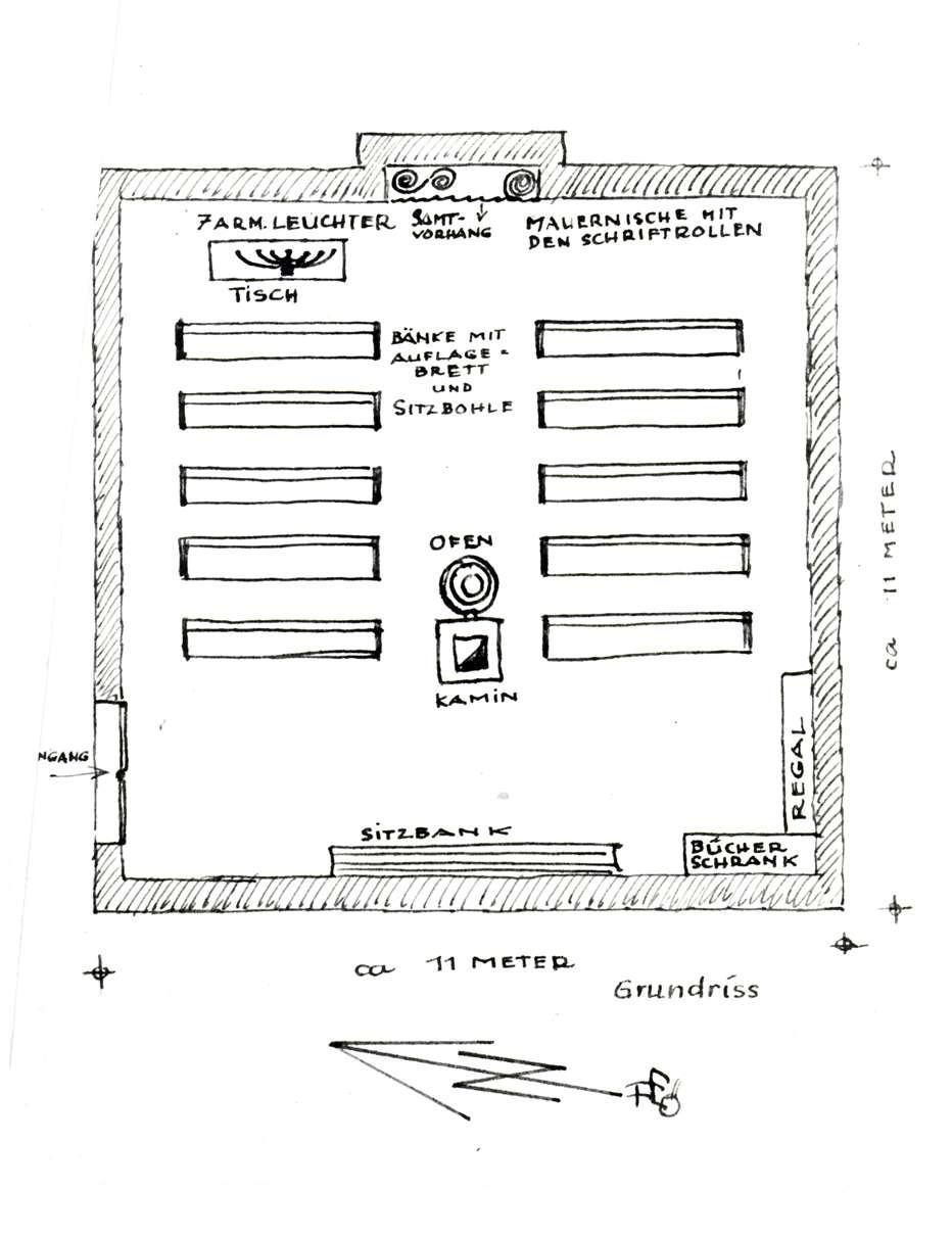 Östringen, KA; Synagoge, Grundriss vor 1936 (Zeichnung von Friedwalt Essenpreis (?)), Bild 1