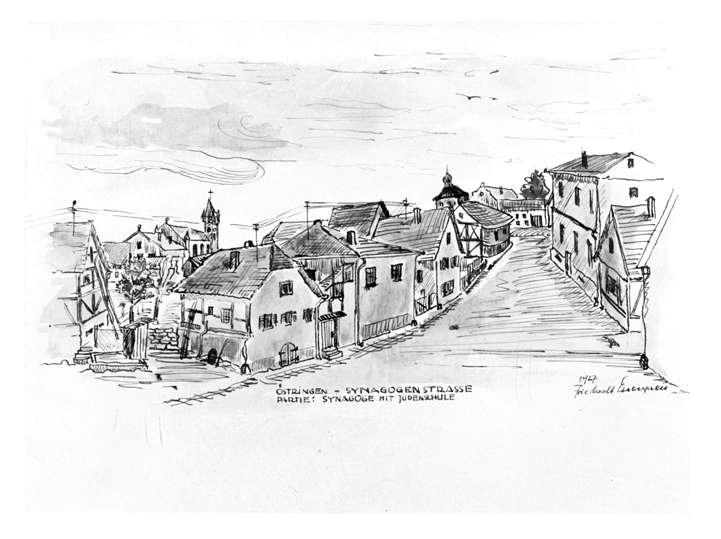 Östringen, KA; Synagogenstraße mit Synagoge und jüdischer Schule (Zeichnung von Friedwalt Essenpreis 1927), Bild 1