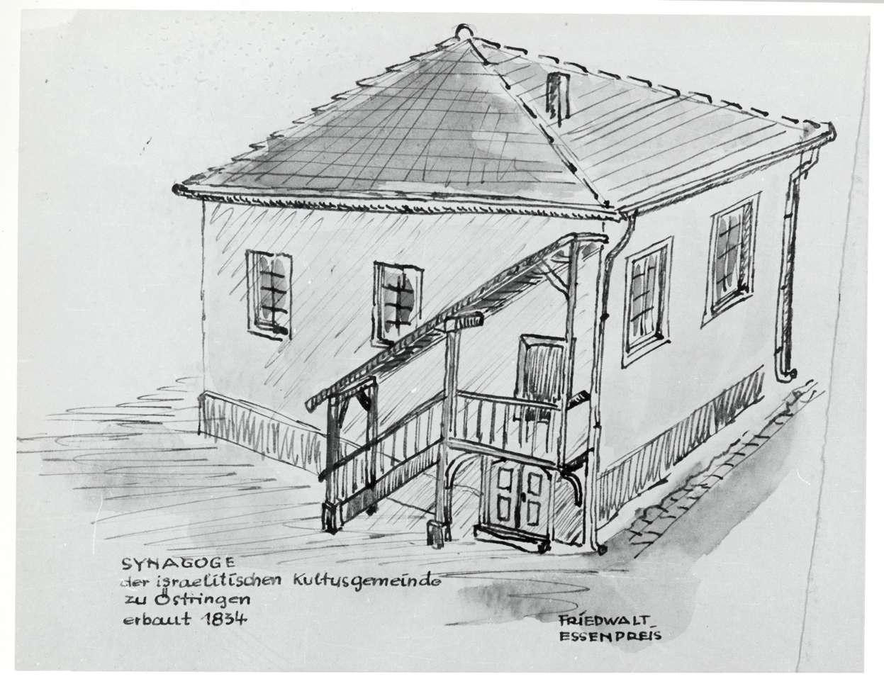Östringen, KA; Synagoge vor 1936 (Zeichnung von Friedwalt Essenpreis), Bild 1