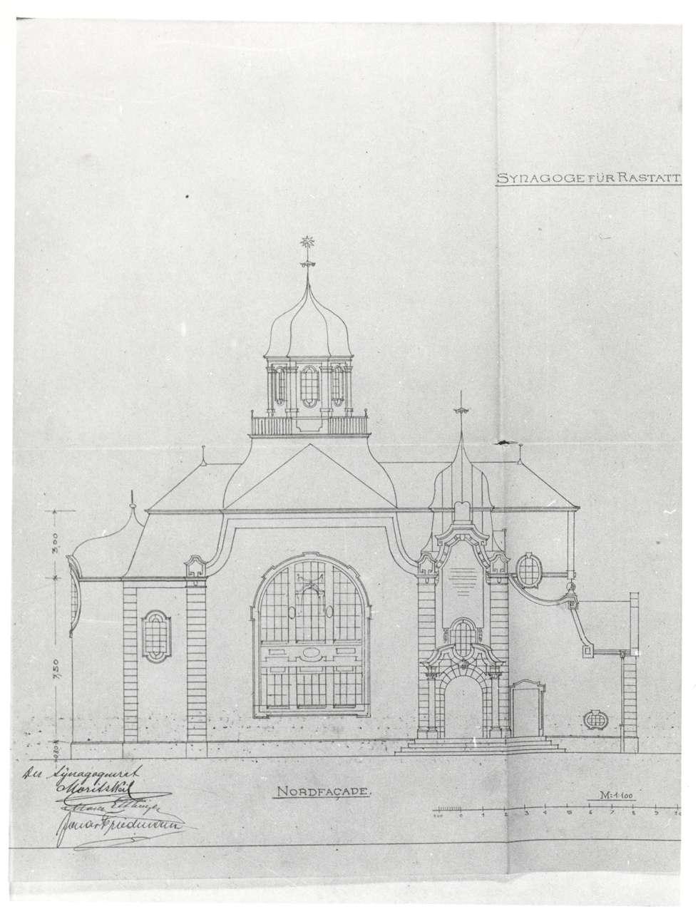 Rastatt, RA; Neue Synagoge, Ansicht von Norden (Bauplan von 1905), Bild 1