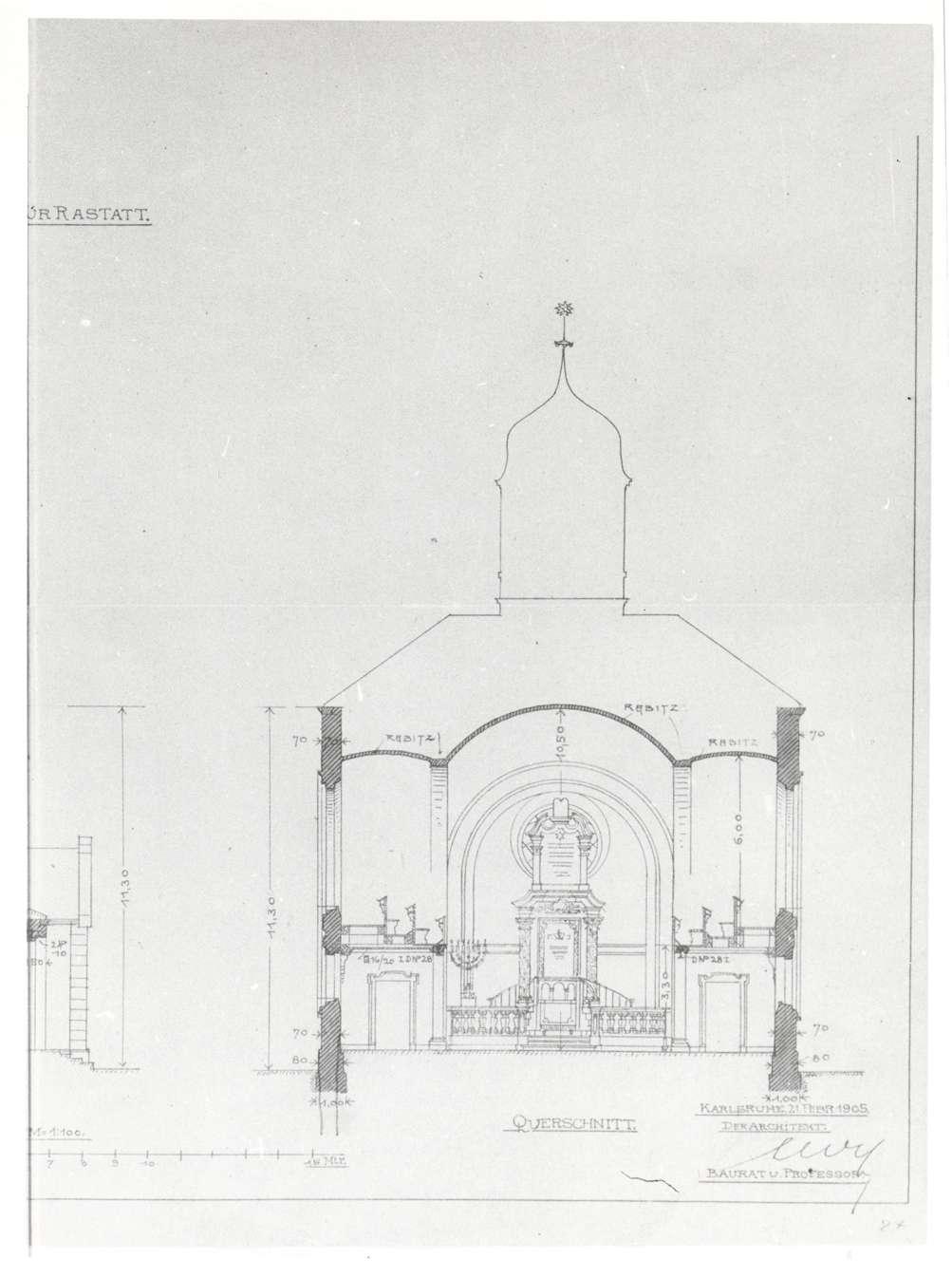 Rastatt, RA; Neue Synagoge, Querschnitt (Bauplan von 1905), Bild 1