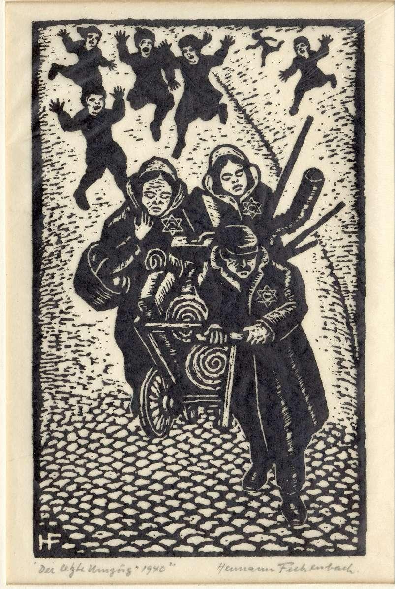 """Bad Mergentheim, TBB; """"Der letzte Umzug 1940"""" (Holzschnitt von Hermann Fechenbach), Bild 1"""