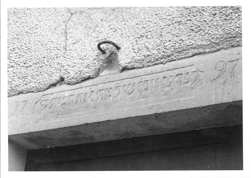 Eschenau, Obersulm, HN; Inschrift (früher an der ehemaligen Synagoge jetzt am Schloss (?)), Bild 1