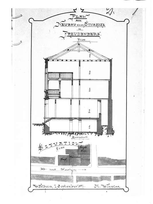 Freudenberg, TBB; Synagoge, Schnitt und Lageplan (Bauplan von 1891), Bild 1