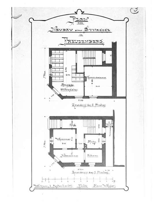 Freudenberg, TBB; Synagoge, Grundriß des I. und II. Stocks (Bauplan von 1891), Bild 1