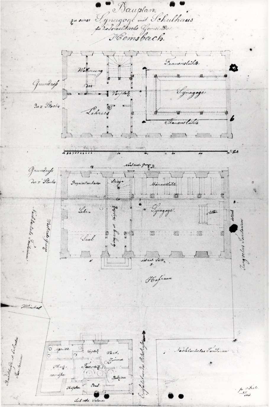 Hemsbach, HD; Synagoge, Grundriss, Bild 1