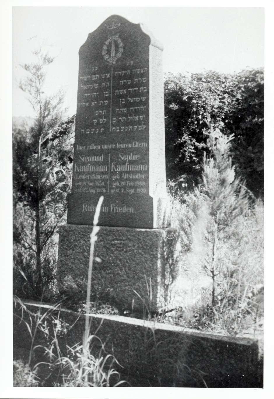 Hemsbach, HD; Jüdischer Friedhof, Grabstein des Sigmund Kaufmann (1859-1920) und seiner Ehefrau Sophie Kaufmann geb. Altstädter (1869-1920) in Hebräisch und Deutsch, Bild 1