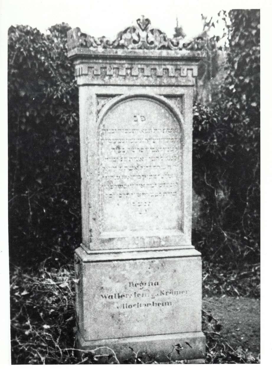 Wiesloch, HD; Jüdischer Friedhof, Grabstein der Regina Walterstein geb. Krämer, Bild 1
