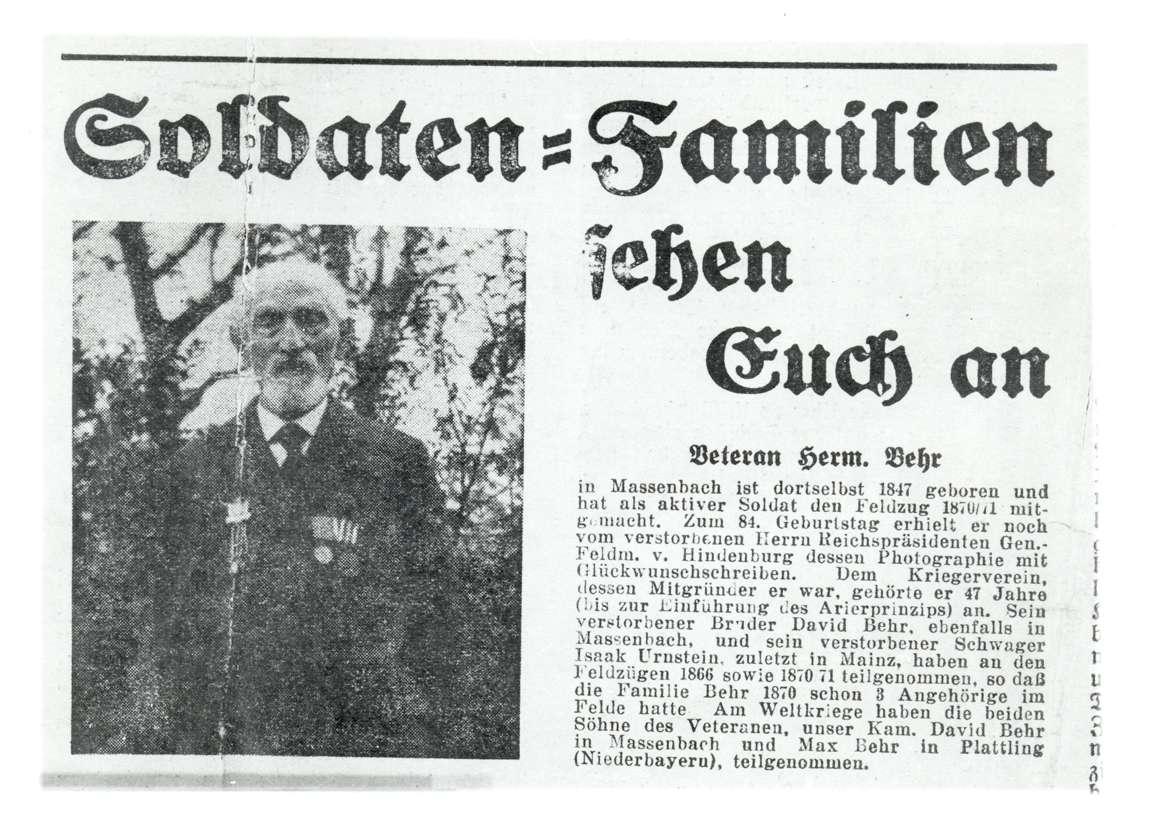 """Massenbach, Schwaigern, HN; """"Soldaten-Familien sehen Euch an: Veteran Herm[ann] Behr"""" (Zeitungsausschnitt aus """"Der Schild""""), Bild 1"""