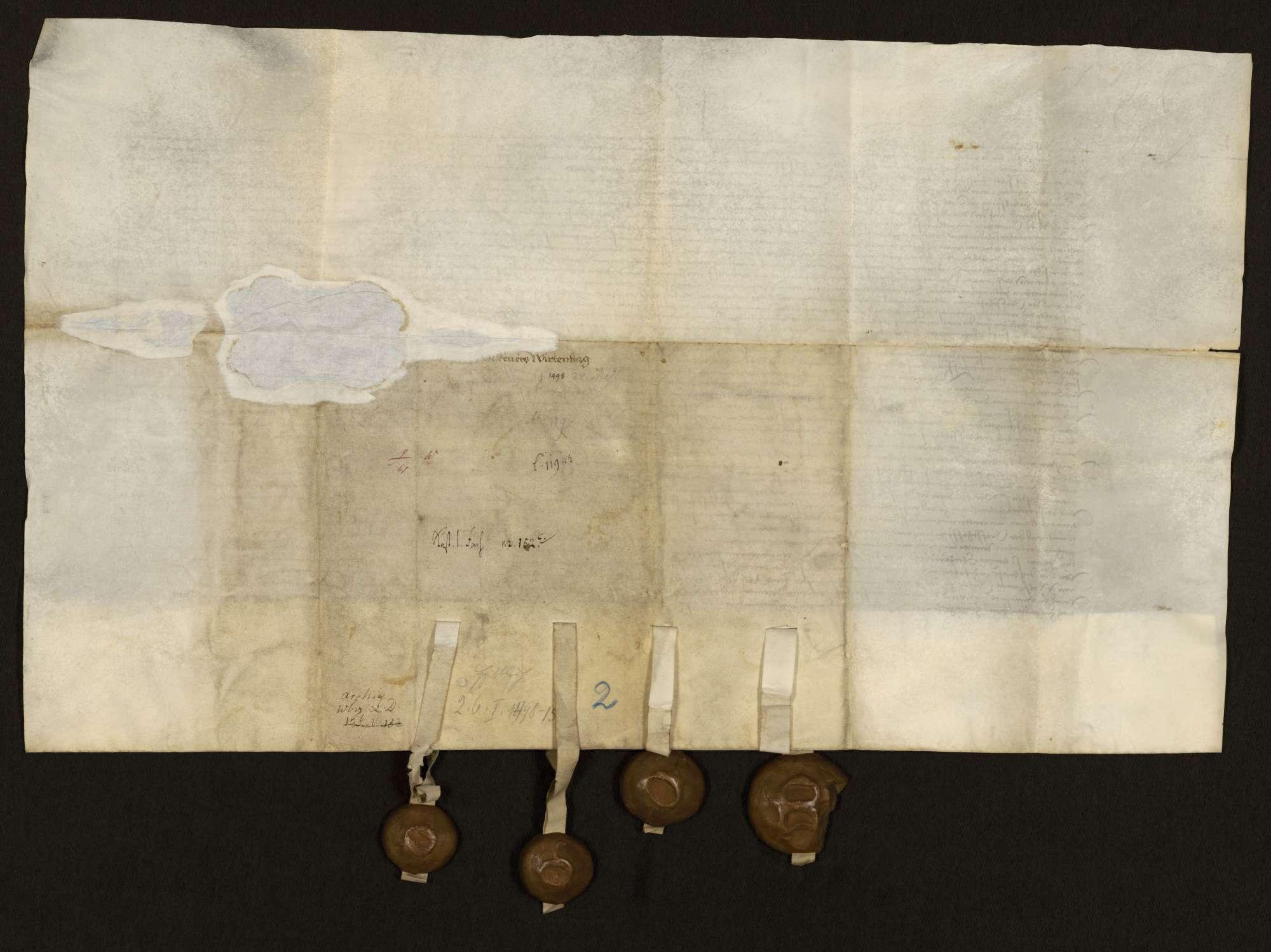 """Das dem Grafen Ulrich zugeordnete Regiment stellt gegenüber König Maximilian den Lehensrevers wegen Württemberg und Mömpelgard aus. Dabei zwei Kopien von Pergament (Lehensbrief für die """"Reichslehen und Regalien""""), Bild 2"""