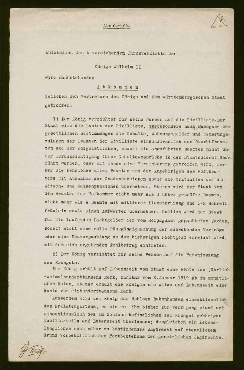 Abkommen zwischen den Vertretern des Königs Wilhelm II. und der provisorischen Regierung anlässlich des bevorstehenden Thronverzichts, betreffend Zivilliste und Krongut 8 (Kopie), Bild 1