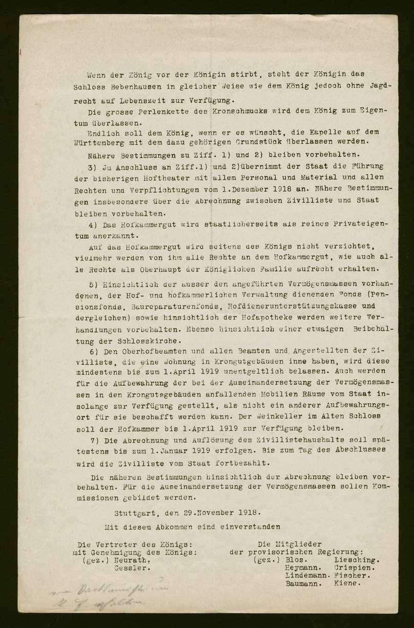 Abkommen zwischen den Vertretern des Königs Wilhelm II. und der provisorischen Regierung anlässlich des bevorstehenden Thronverzichts, betreffend Zivilliste und Krongut 8 (Kopie), Bild 2