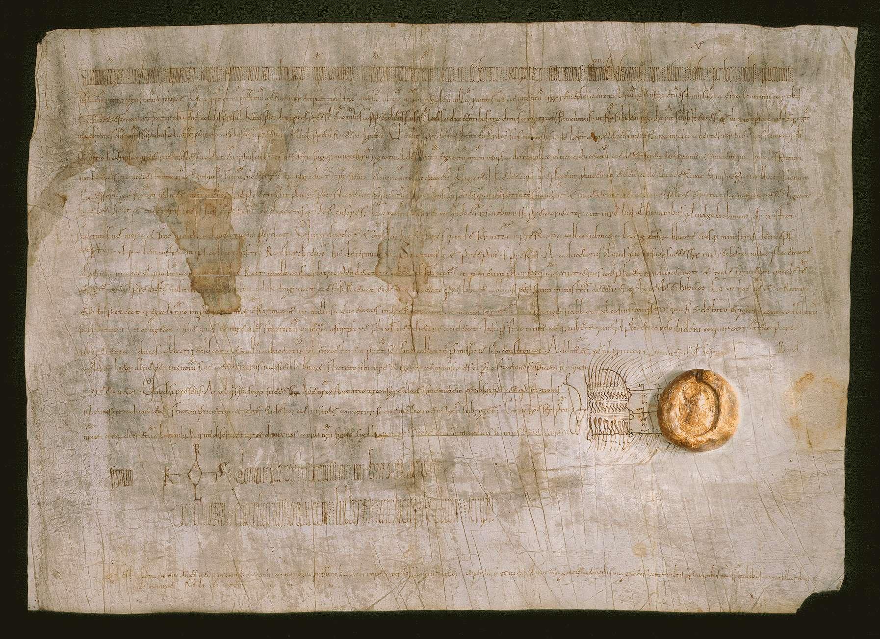 Kaiser Karl (der Große) schenkt seine regalis villa Ulm an das Kloster Reichenau, bestellt mit Bewilligung des Abts und der Mönche daselbst seinen Verwandten Adalbert zum Schutzvogt in Ulm und bestimmt zugleich das Rechtsverhältnis, in welchem künftig diese Schutzvögte zum Kloster stehen sollen., Bild 1