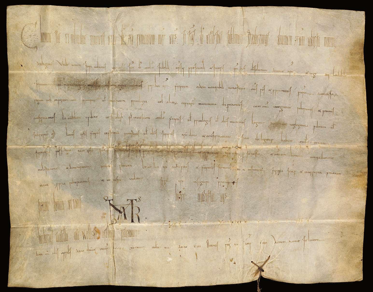 Kaiser Otto III. bestätigt dem Stift Buchau alle seine urkundlich erworbenen Besitzungen in ganzem Umfang., Bild 1