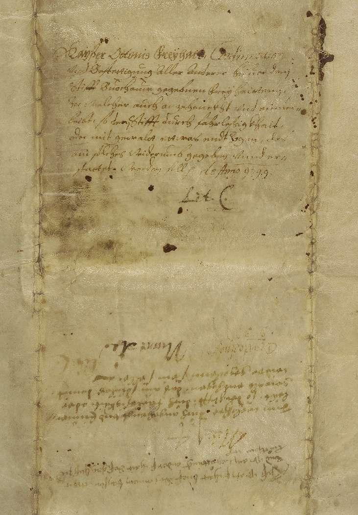 Kaiser Otto III. bestätigt dem Stift Buchau alle seine urkundlich erworbenen Besitzungen in ganzem Umfang., Bild 2
