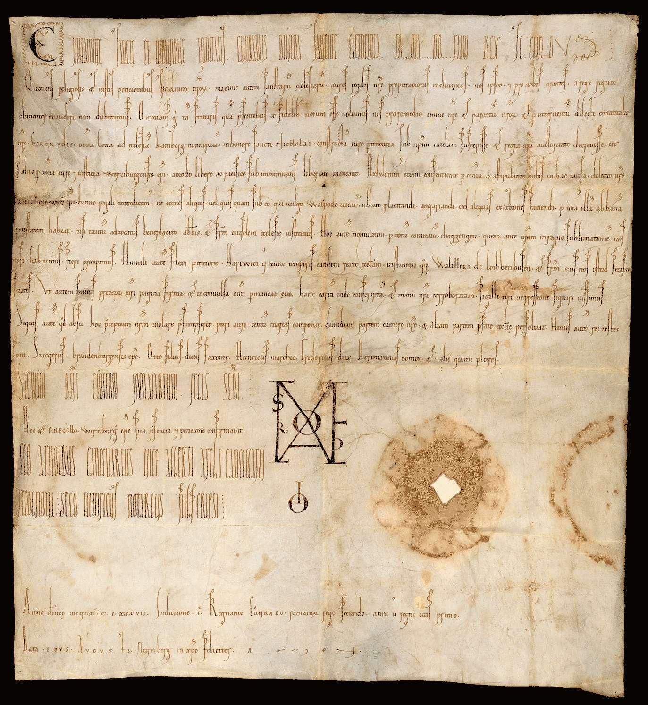 König Konrad III. nimmt die Güter der Kirche zu Comburg in seinen Schutz und entzieht dieselben der Amtsgewalt der Grafen und ihrer Stellvertreter., Bild 1