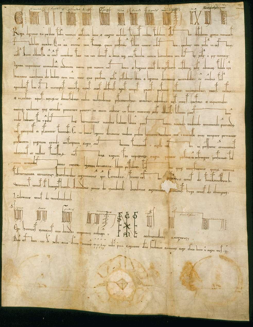 König Friedrich (I.) überträgt im Namen der Kirche zu Erstein die einst von der Kaiserin Agnes dahin geschenkte Curtis Besigheim an den Markgrafen Hermann von Baden., Bild 1