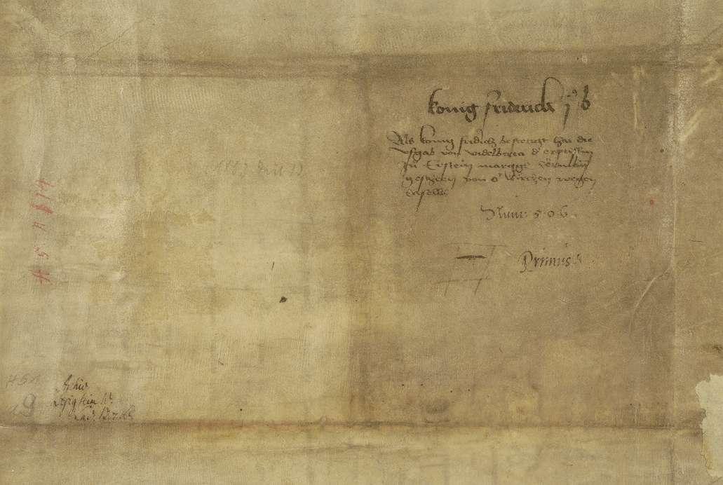 König Friedrich (I.) überträgt im Namen der Kirche zu Erstein die einst von der Kaiserin Agnes dahin geschenkte Curtis Besigheim an den Markgrafen Hermann von Baden., Bild 2