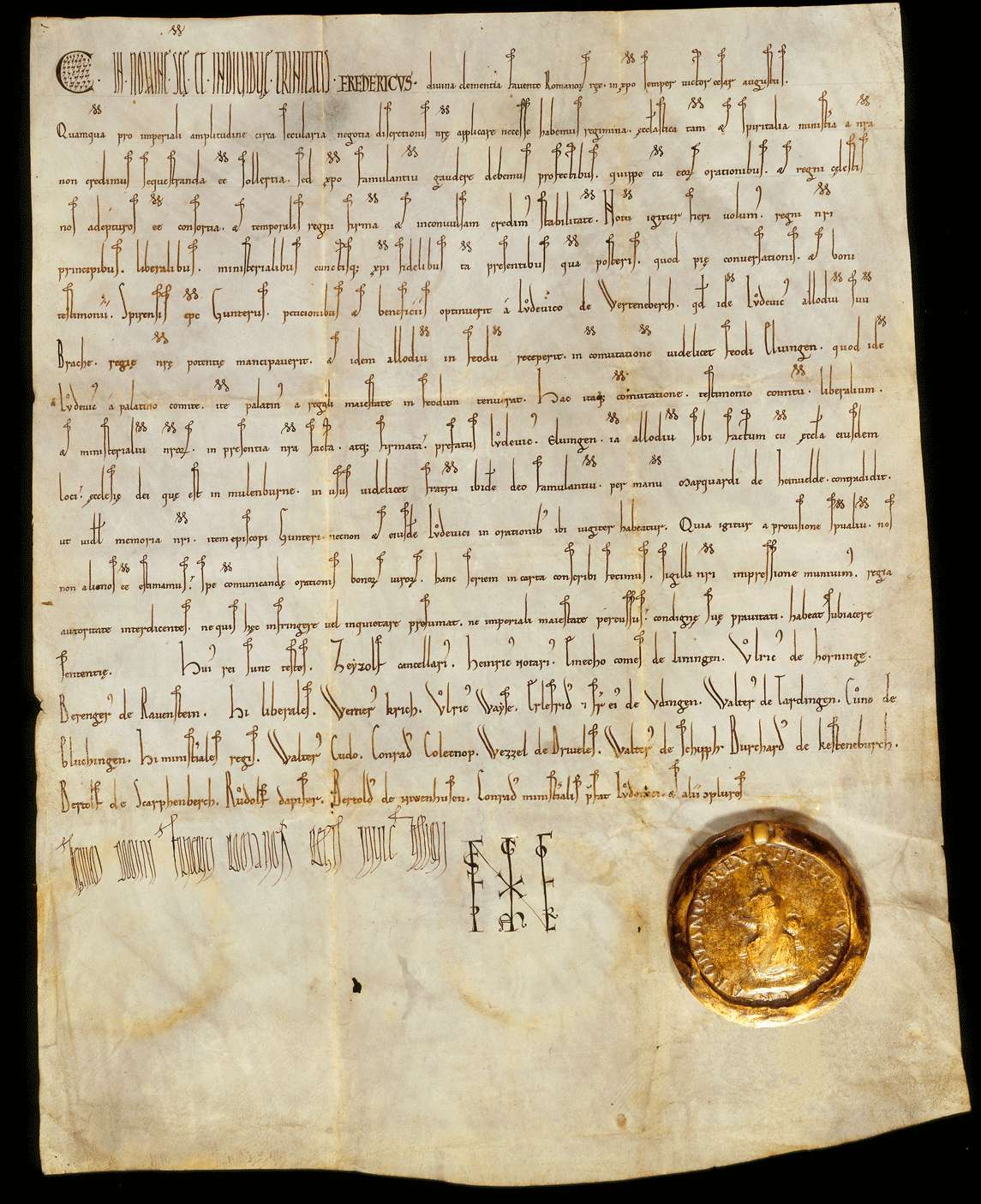 König Friedrich (I.) genehmigt, dass das Eigengut Brache an Stelle von Elfingen reichslehenbar, und dieses samt der Kirche des Orts Eigentum der Kirche in Maulbronn werde., Bild 1