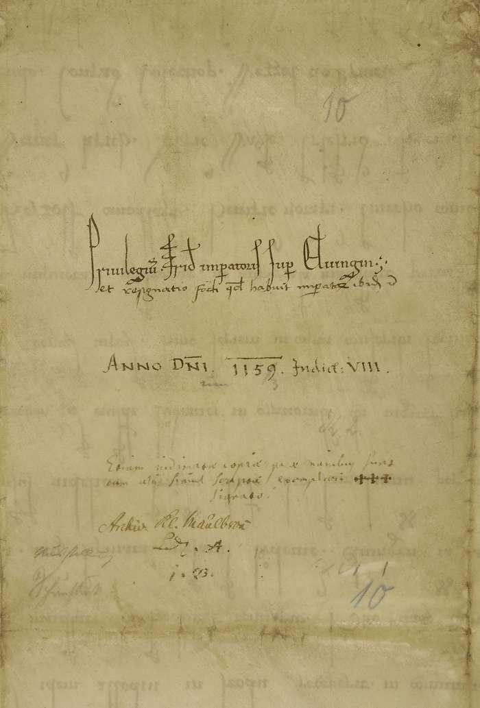König Friedrich (I.) genehmigt, dass das Eigengut Brache an Stelle von Elfingen reichslehenbar, und dieses samt der Kirche des Orts Eigentum der Kirche in Maulbronn werde., Bild 2