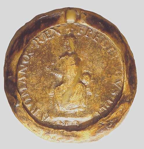 König Friedrich (I.) genehmigt, dass das Eigengut Brache an Stelle von Elfingen reichslehenbar, und dieses samt der Kirche des Orts Eigentum der Kirche in Maulbronn werde., Bild 3