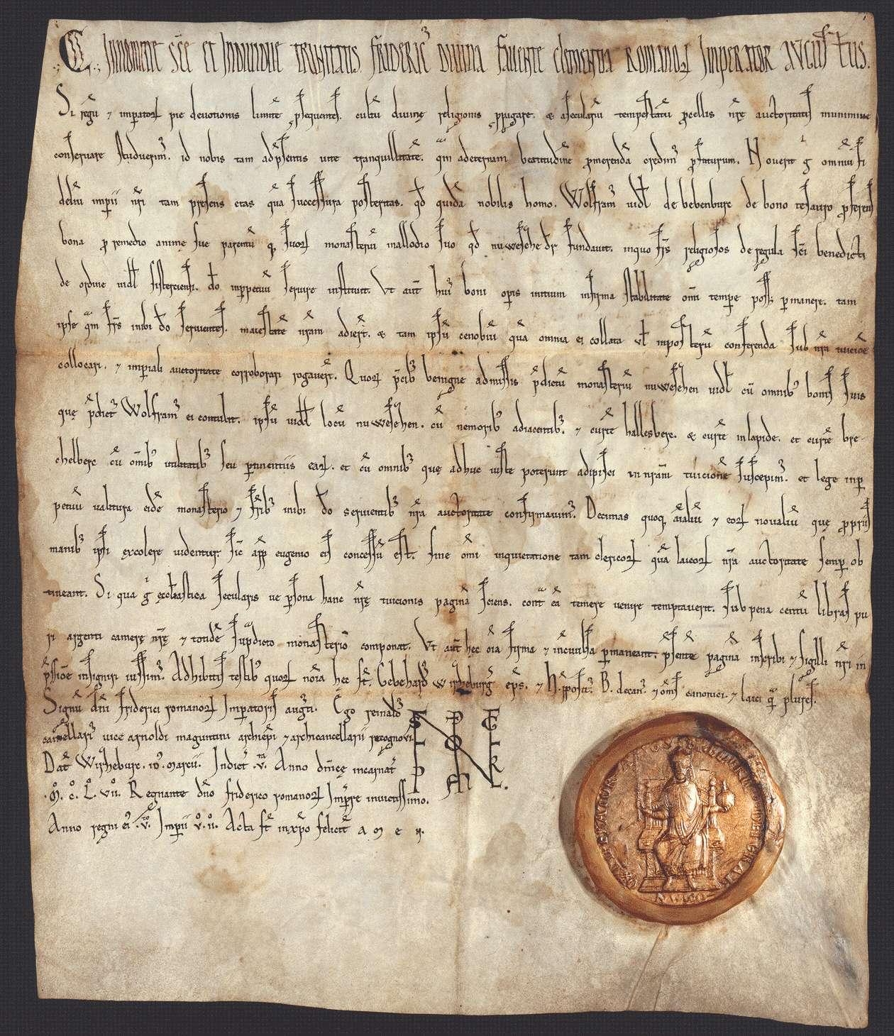 Kaiser Friedrich (I.) nimmt das von Wolfram von Bebenburg gestiftete Kloster in Neusaß samt dessen Güter in seinen Schutz und bestätigt dessen genauer bestimmte Zehntfreiheit., Bild 1