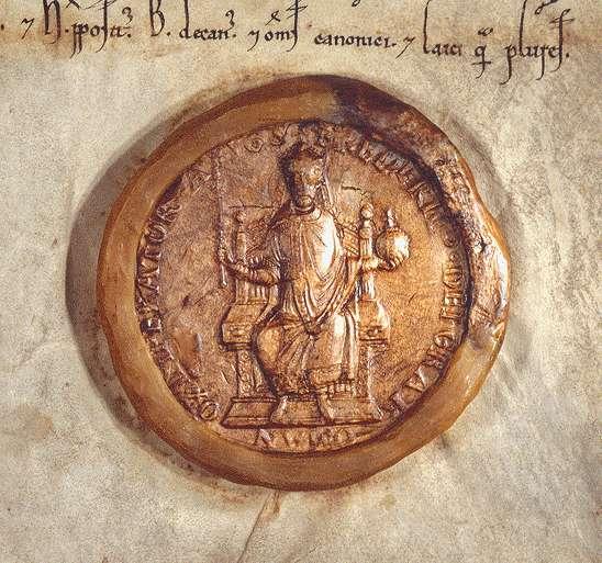 Kaiser Friedrich (I.) nimmt das von Wolfram von Bebenburg gestiftete Kloster in Neusaß samt dessen Güter in seinen Schutz und bestätigt dessen genauer bestimmte Zehntfreiheit., Bild 3