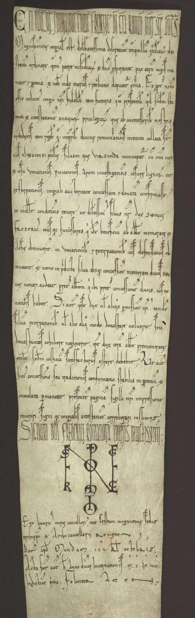 Kaiser Friedrich (I.) bestätigt der Kirche in Ellwangen ihre Rechte an dem Virgundawald unter ausgedrückten näheren Bestimmungen., Bild 1