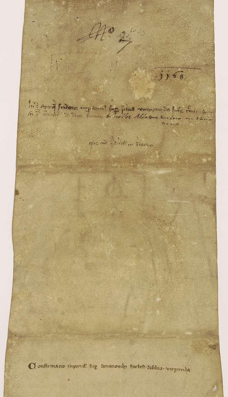 Kaiser Friedrich (I.) bestätigt der Kirche in Ellwangen ihre Rechte an dem Virgundawald unter ausgedrückten näheren Bestimmungen., Bild 2