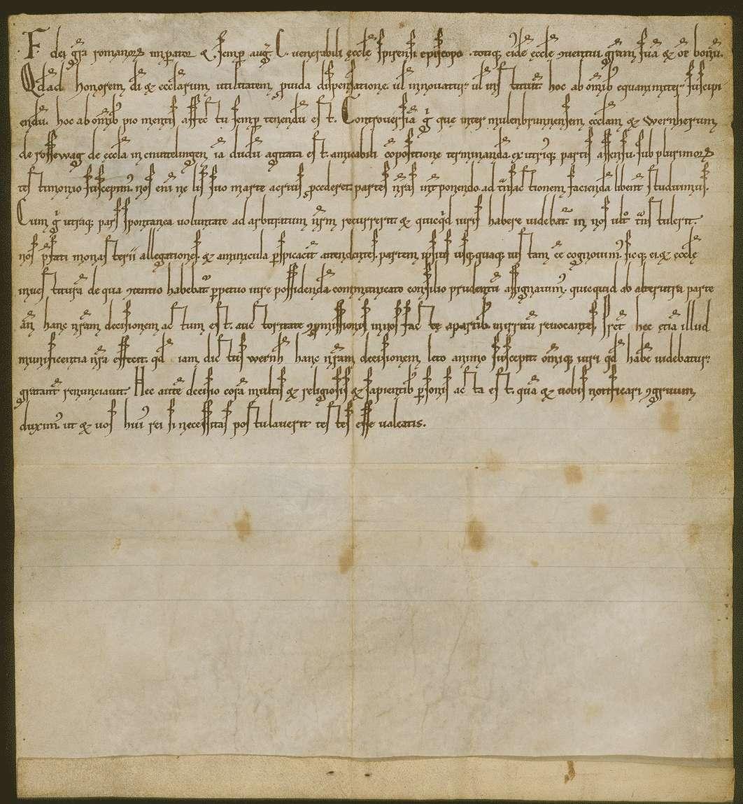 Kaiser Friedrich (I.) erkennt das zwischen dem Kloster Maulbronn und Werner von Rosswag schon lange strittige Recht der Investitur an der Kirche in Knittlingen durch schiedsrichterlichen Spruch dem ersteren zu., Bild 1