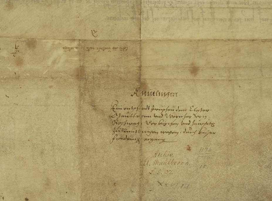 Kaiser Friedrich (I.) erkennt das zwischen dem Kloster Maulbronn und Werner von Rosswag schon lange strittige Recht der Investitur an der Kirche in Knittlingen durch schiedsrichterlichen Spruch dem ersteren zu., Bild 2