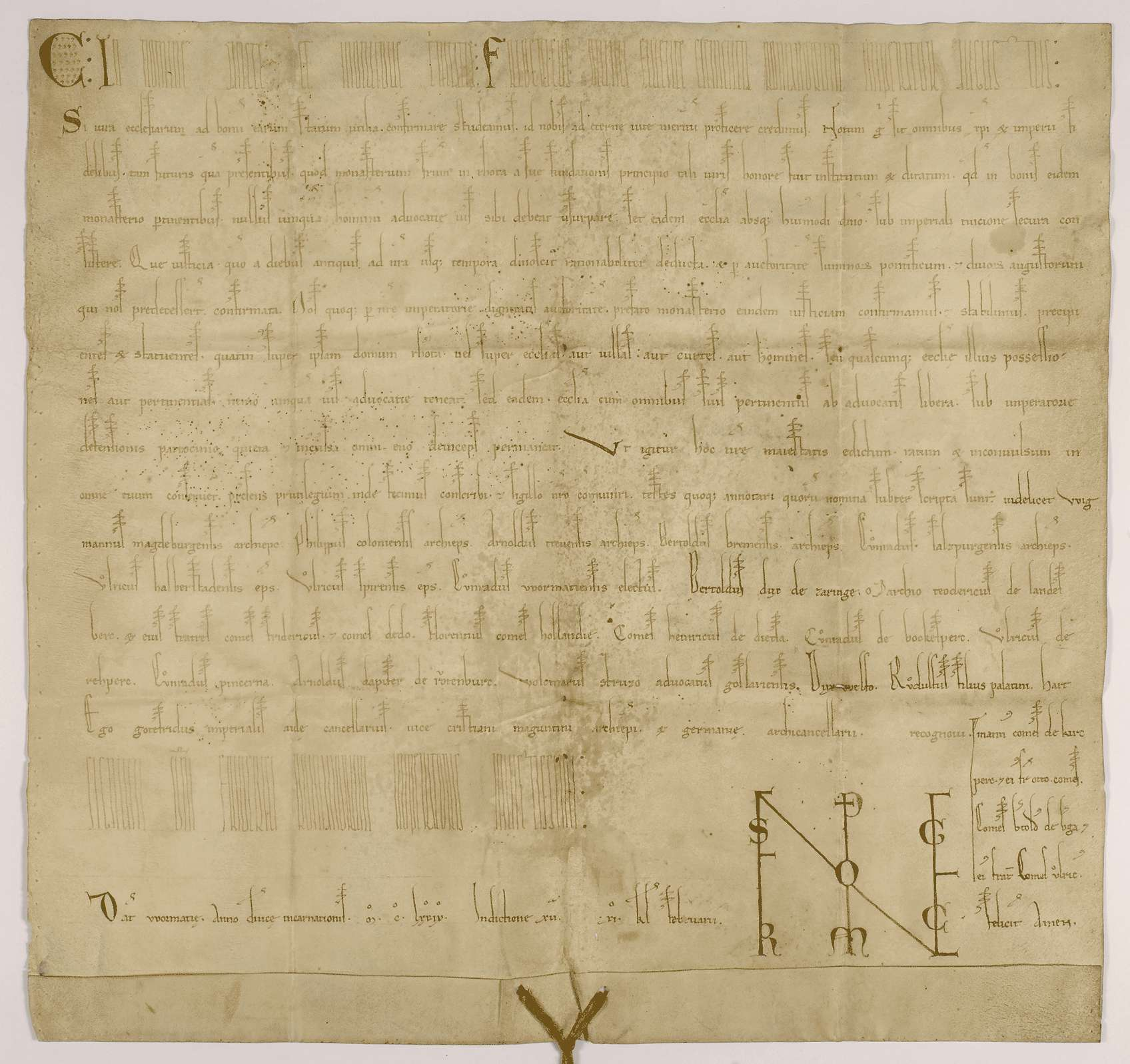 Kaiser Friederich (I.) bestätigt dem Kloster Rot seine seit Gründung bestehende Freiheit von jeder Vogteigewalt und die Unterstellung unter kaiserlichen Schutz., Bild 1