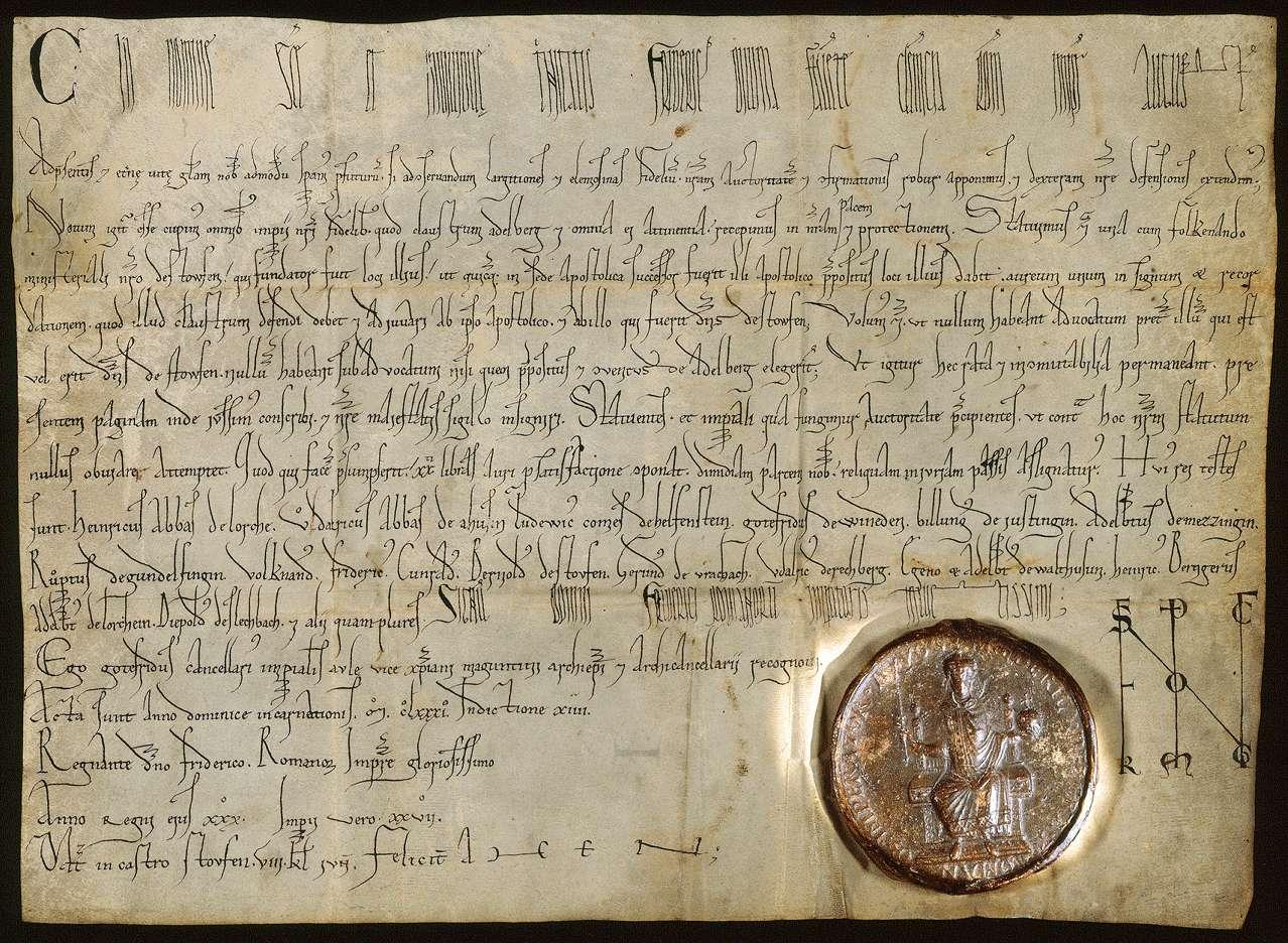 Kaiser Friedrich (I.) verordnet, dass ein jeweiliger Herr von Staufen Vogt des Klosters Adelberg sein, die Wahl von Untervögten aber vom Propst und Konvent des Klosters abhängen solle., Bild 1