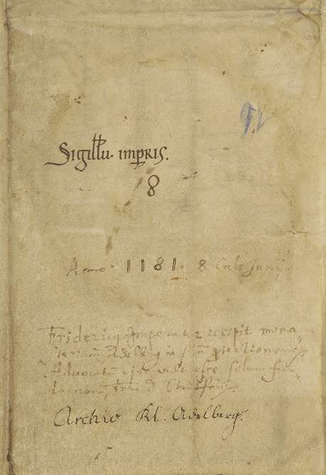 Kaiser Friedrich (I.) verordnet, dass ein jeweiliger Herr von Staufen Vogt des Klosters Adelberg sein, die Wahl von Untervögten aber vom Propst und Konvent des Klosters abhängen solle., Bild 2