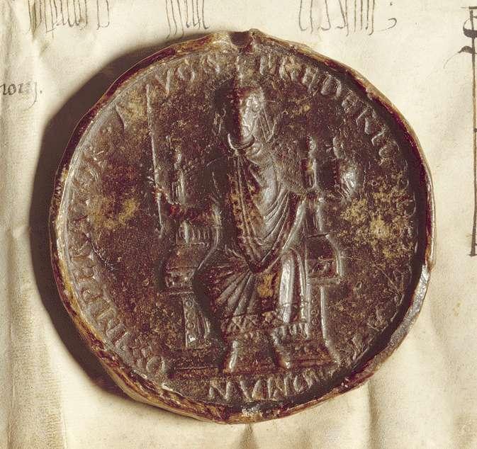 Kaiser Friedrich (I.) verordnet, dass ein jeweiliger Herr von Staufen Vogt des Klosters Adelberg sein, die Wahl von Untervögten aber vom Propst und Konvent des Klosters abhängen solle., Bild 3