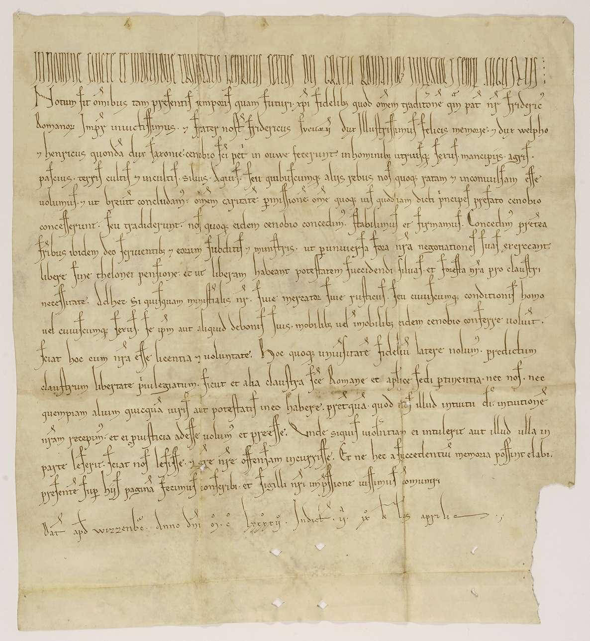 Kaiser Heinrich VI. bestätigt dem Kloster Weißenau die Begünstigungen, die ihm von seinem Vater Kaiser Friedrich, seinem Bruder Herzog Friedrich von Schwaben, Herzog Welf und von Heinrich, vormals Herzog von Sachsen, erteilt wurden., Bild 1