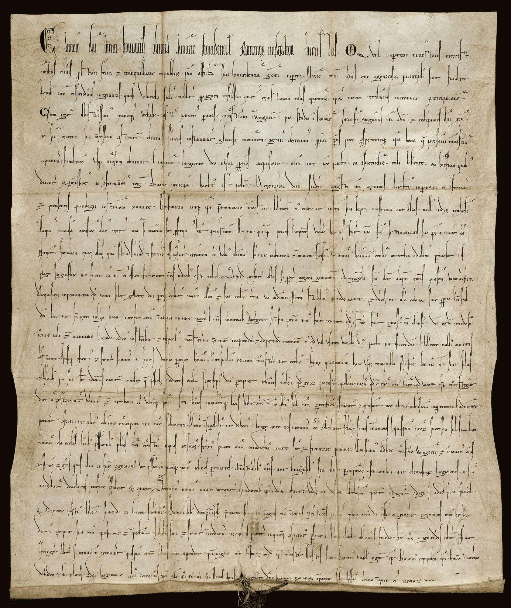 Kaiser Heinrich VI. bestätigt den Besitz und verschiedene, näher beschriebene Rechte des Benediktinerklosters Weingarten., Bild 1
