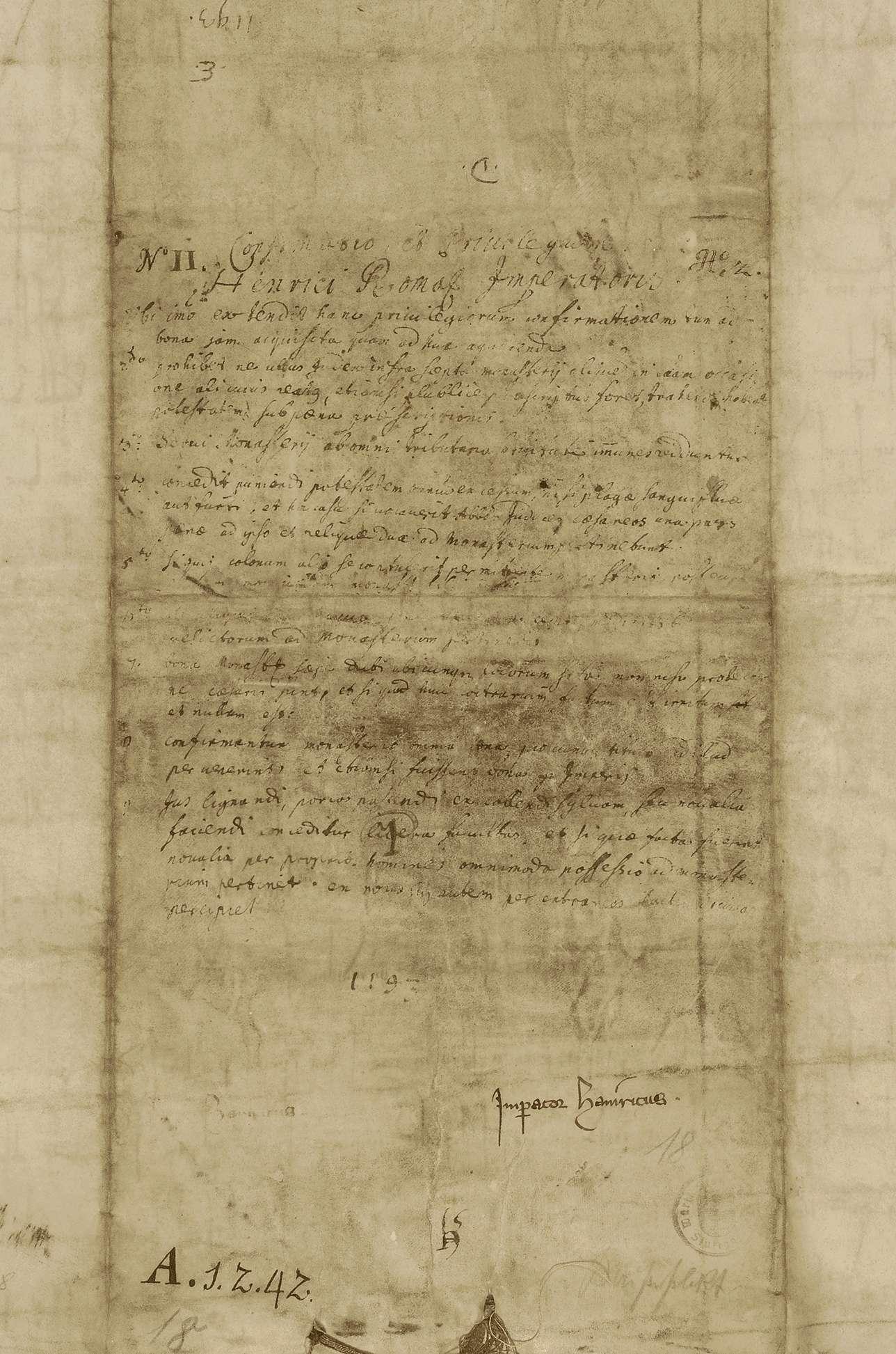 Kaiser Heinrich VI. bestätigt den Besitz und verschiedene, näher beschriebene Rechte des Benediktinerklosters Weingarten., Bild 2