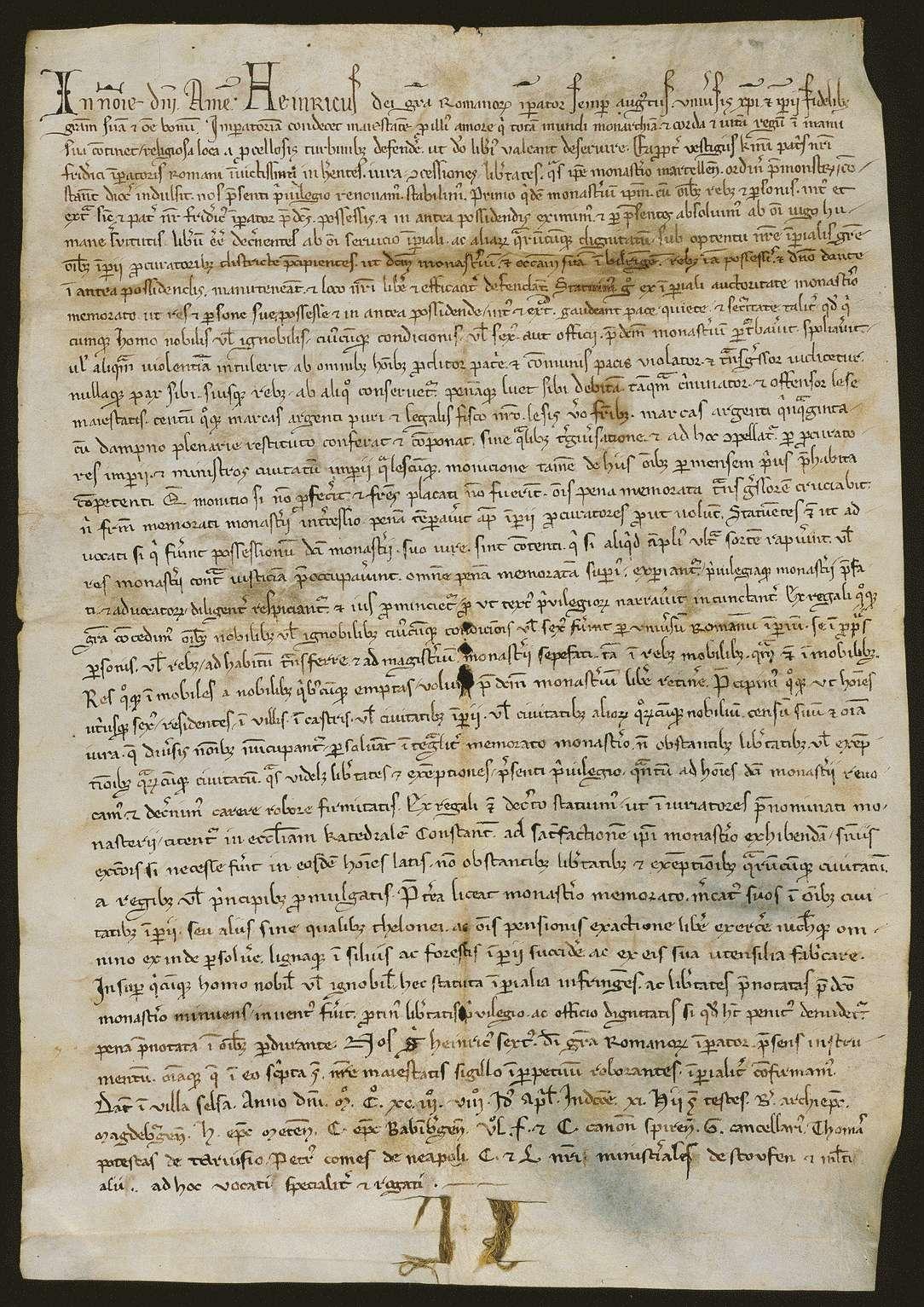 Kaiser Heinrich VI. bestätigt und erneuert dem Prämonstratenserkloster Obermarchtal alle von seinem Vater Friedrich verliehenen Begünstigungen., Bild 1